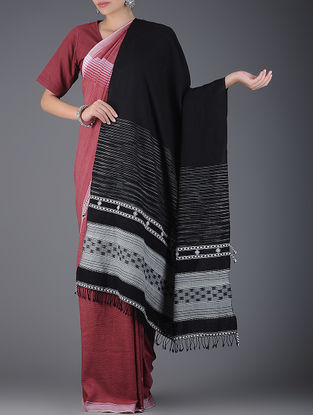 Black-Ivory Handwoven Wool Shawl