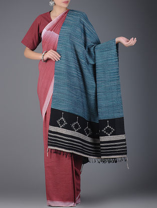 Blue-Black Handwoven Wool Shawl with Mirror Work