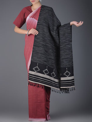 Black-Ivory Handwoven Wool Shawl with Mirror Work