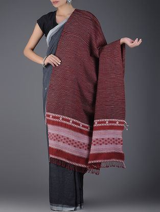 Maroon-Ivory Handwoven Wool Shawl