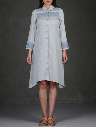 Blue-White Button-Down Asymmetrical Hem Roll-Up Sleeve Cotton Dress