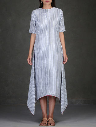 Blue-White Asymmetrical Hem Cotton Dress