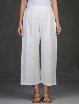 White Elasticated-Waist Cotton Khadi Palazzos