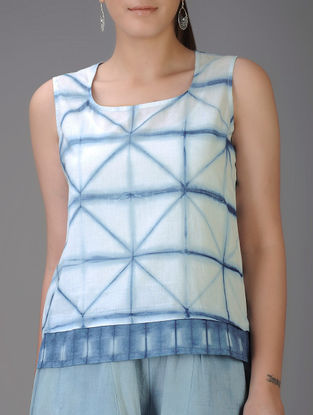 Indigo-Ivory Shibori-dyed Cotton Voile Tank Top