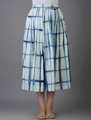 Indigo-Ivory Shibori-dyed Elasticated Waist Cotton Voile Skirt