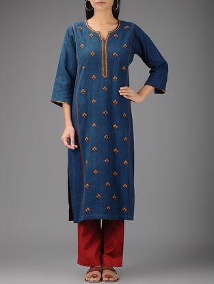 Indigo-Yellow Hand-embroidered Malkha Khadi Kurta
