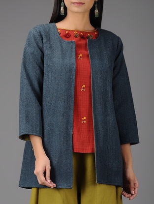 Indigo-Green Handloom Wool and Cotton Reversible Jacket with Pockets