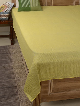 Green Double Square Cotton Single Bed Cover 90in x 60in