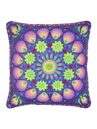 Multi-Color Cotton Bagh Peacock Embroidered Cushion Cover 17.5in x 17in