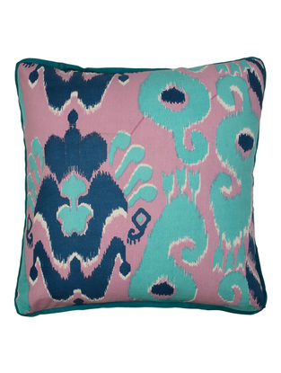 Blue Cotton Ikat Printed Cushion Cover 16in x 16in