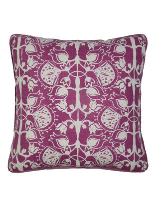 Magenta-White Cotton Ornamental Printed Cushion Cover 15.5in x 15.5in