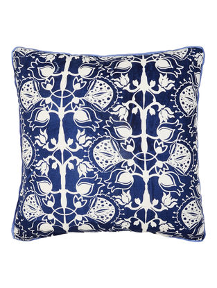 Blue-White Cotton Ornamental Printed Cushion Cover 16in x 16in