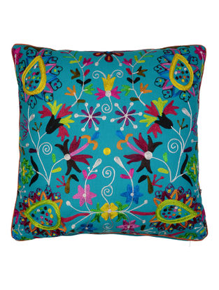 Multi-Color Cotton Garden of Flowers Embroidered Cushion Cover 18in x 18in