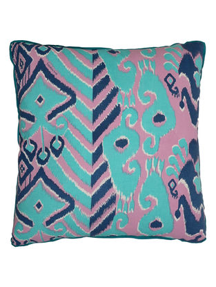 Blue Cotton Duck Ikkat Printed Cushion Cover 24in x 24in