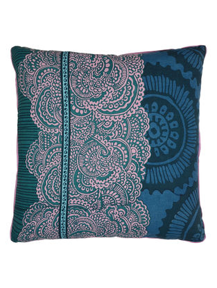 Blue Cotton Duck Mohuz Printed Cushion Cover 24in x 24in