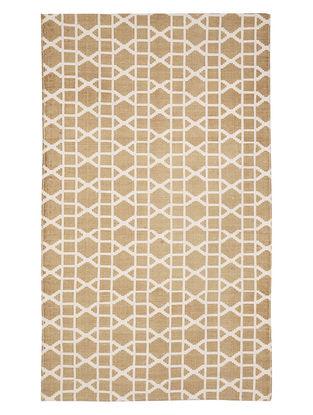 Beige Cotton Lattice Design Dhurrie 60in x 35in