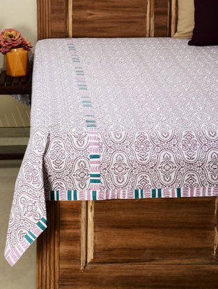 Blue, White Cotton Ornamental Printed Double Bed Cover 104in x 90in
