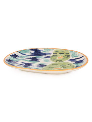 Blue-Green Ceramic Tray 10.6in x 6.3in x 1in