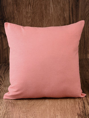 Peach Solid Cotton Cushion Cover 16in x 16in