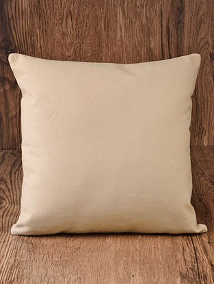 Beige Solid Cotton Cushion Cover 16in x 16in