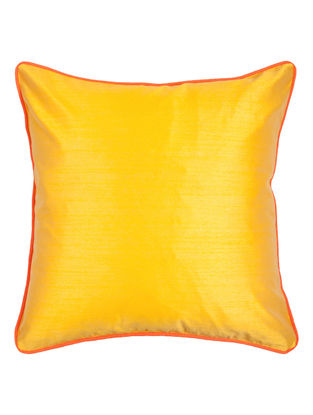 Yellow-Orange Silk Cushion Cover 16in x 16in