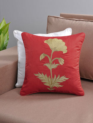 Red Zari-Embroidered Cushion Cover with Cotton Lining