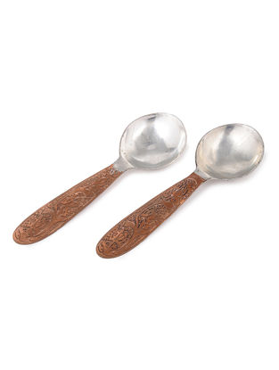 Engraved Copper Serving Spoons (Set of 2)