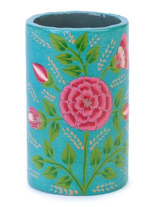 Blue-Pink Floral Hand-painted Papier-mache and Wood Pen Holder