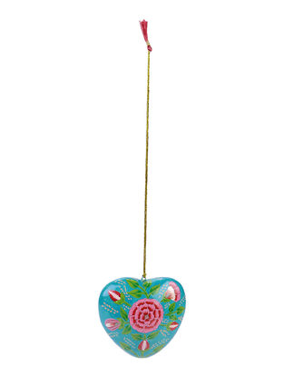 Blue-Pink Floral Hand-painted Papier-mache and Wood Mobile Charm with Heart Design
