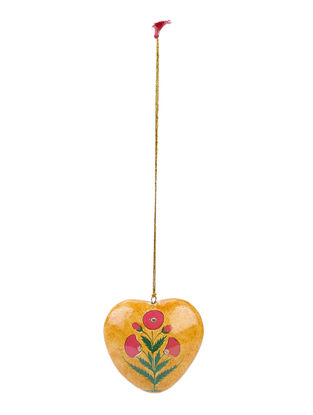 Mustard-Pink Floral Hand-painted Papier-mache and Wood Mobile Charm with Heart Design