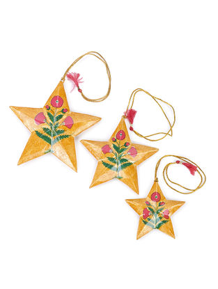 Mustard-Pink Floral Hand-painted Papier-mache and Wood Mobile Charm with Star Design (Set of 3)