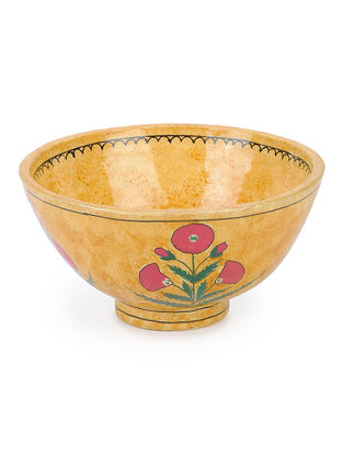 Mustard-Pink Floral Hand-painted Papier-mache and Wood Bowl