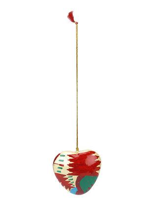 Red-Multicolor Hand-painted Papier-mache and Wood Mobile Charm with Heart Design
