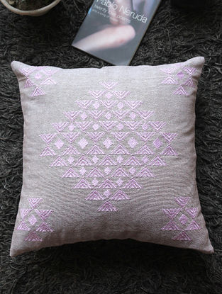 Grey-Mauve Toda-embroidered Linen Cushion Cover