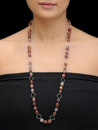 Sandstone Beaded Silver Necklace