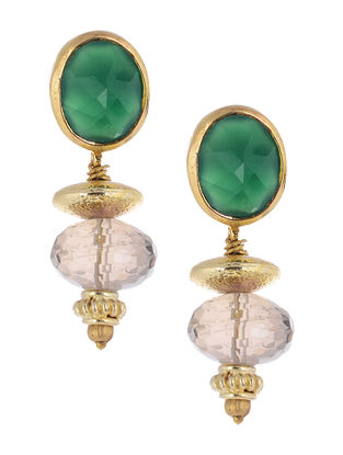 Jade and Smoky Topaz Gold-plated Silver Earrings