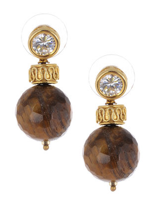 Tigers Eye Gold-plated Silver Earrings
