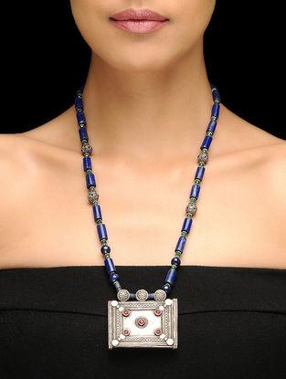 Vintage Lapis Lazuli Beaded Afghani Silver Necklace