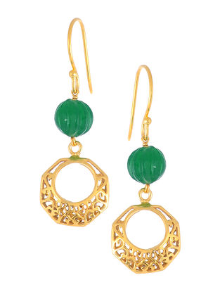 Green Glass Gold-plated Earrings