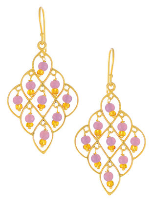 Pink Glass Gold-plated Earrings