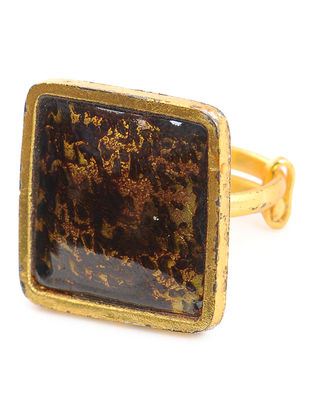 Black Enameled Gold Tone Adjustable Copper Ring