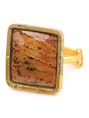 Orange Enameled Gold Tone Adjustable Copper Ring