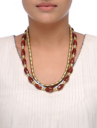 Red-Golden Beaded Necklace