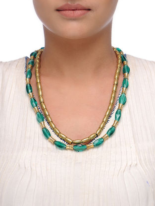 Blue-Golden Beaded Necklace