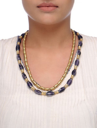 Purple-Golden Beaded Necklace