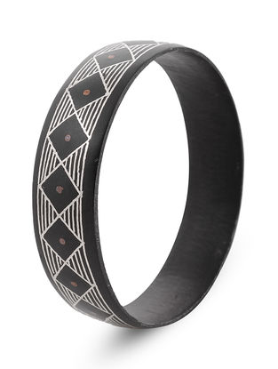 Black-Silver Bidri Work Bangle (Bangle Size - 2/8)