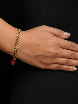 Red Thread Brass Bracelet with Dhokra Work