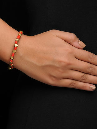 Orange Thread Brass Bracelet with Dhokra Work