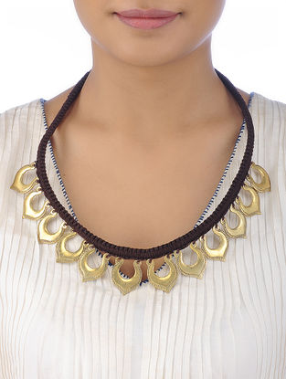 Brown Cotton Yarn Gold Tone Brass Necklace