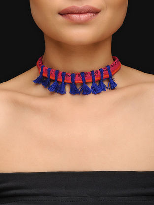 Red-Blue Cotton Upcycled Choker with Tassels